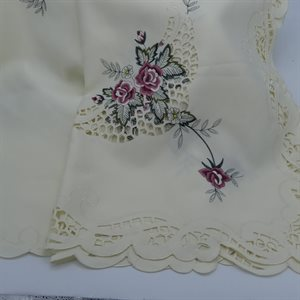 """TABLECLOTH 67X90"""" IVORY WITH PINK ROSES"""